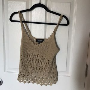 Express beige crochet crop top